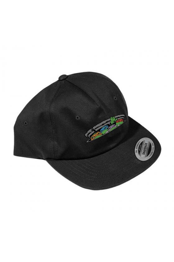 Santa Cruz - TMNT Ninja Turtles Snapback Flat Brim Hat Black OS Mens Santa Cruz