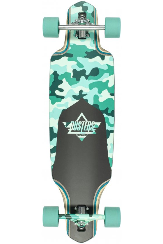 "Dusters - Channel Dragonfly Camo/Teal 34""x 9.75""- Wheel Base 24.0""- 180mm Slant Truck - 71x52mm 78A"