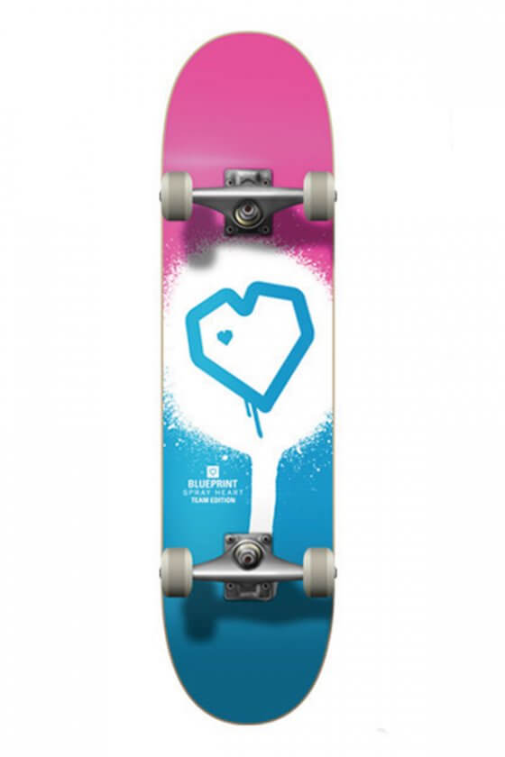 Blueprint - Spray Heart Full Blue/Pink 7.75""