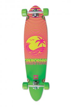 """Dusters - California Dreaming Neon Green Pin Tail 40""""x 9"""" - Wheel Base 26.75"""" - 150mm Inverted Truck - 70x46mm 78A"""